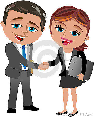 Business Woman and Man Handshaking
