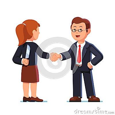 Business woman and man shaking hands. Betrayal. Vector Illustration