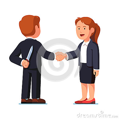 Business woman and man standing shaking hands Vector Illustration