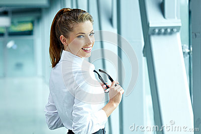 Business woman in modern interior
