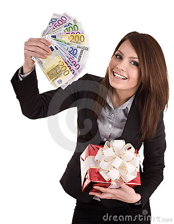 Business woman with money, gift  box.
