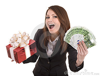 Business woman with money and gift box.