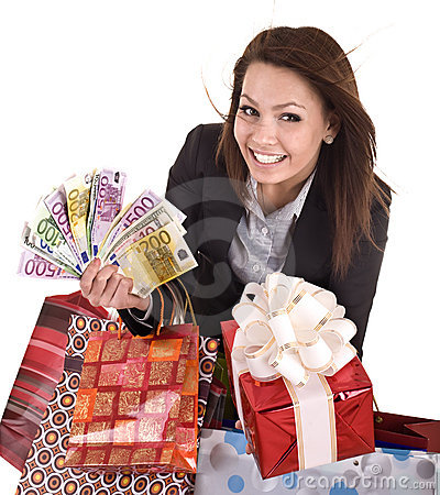 Business woman with money, gift box and bag.