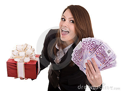 Business woman with money, gift box,. Isolated.
