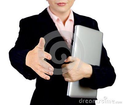 Business woman with notebook offering handshake to you