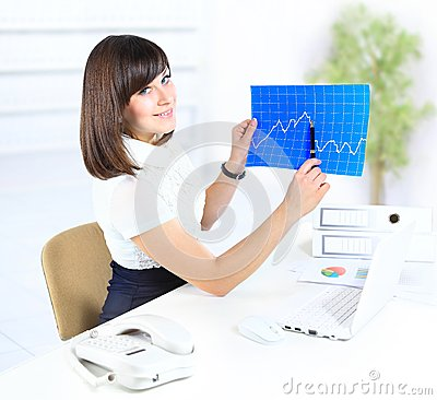 Business woman at office desk