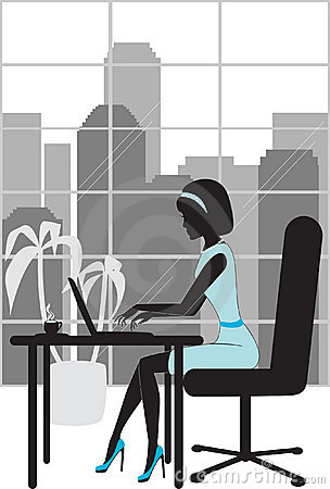 Business woman in office silhouette