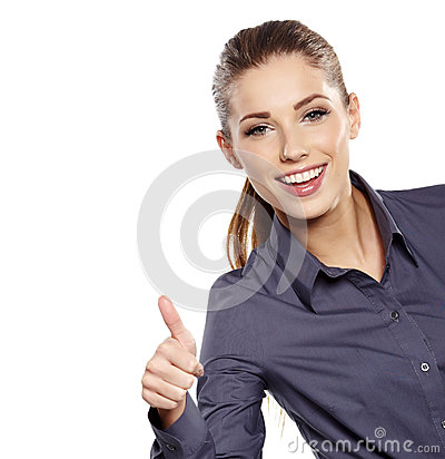 Business woman with ok hand sign