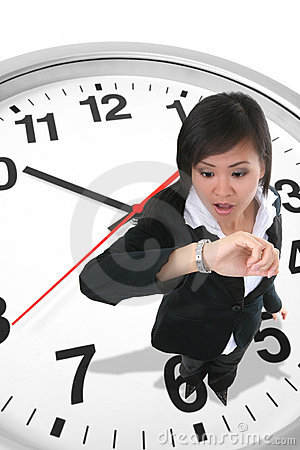 Free Business Woman On Clock Stock Images - 3338114