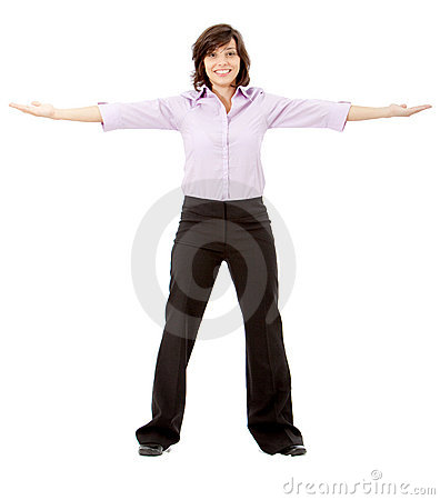 Business woman with opened arms