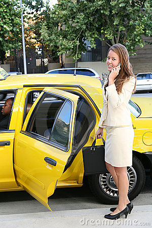 Business Woman Ouside Taxi