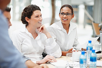 Business woman paying attention during meeting