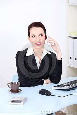 Business woman on phone call at office