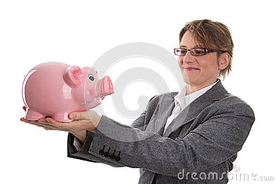 Business woman with piggy bank - woman isolated on white backgro