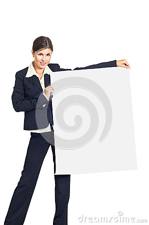 Business woman with a placard