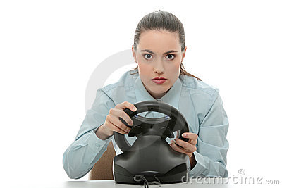 Business woman playing race game