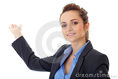 Business woman point back with her hand, isolated
