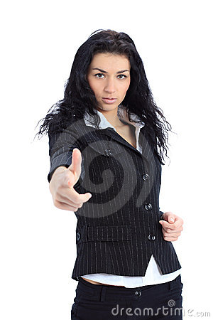 Business woman point finger at you looking