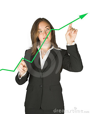 Business woman pointing at graph