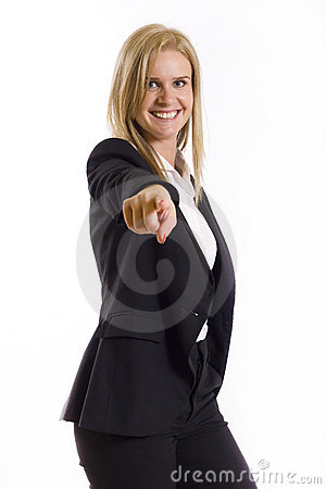 Business woman pointing her finger