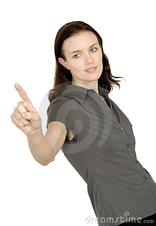 Business woman pointing at screen