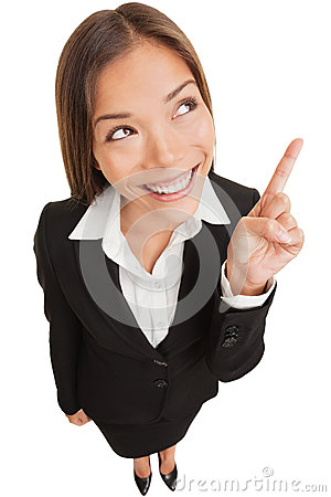 Free Business Woman Pointing Showing And Looking Stock Image - 28991081