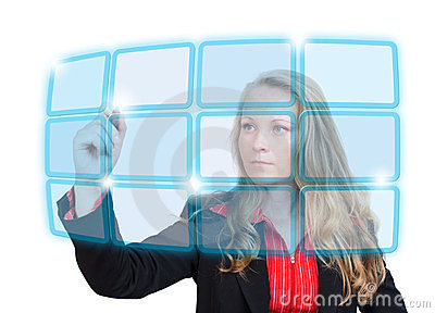 Business woman pointing to blue virtual screen