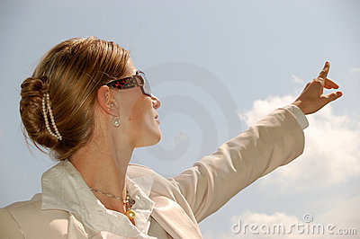 Business Woman Pointing to the Distance