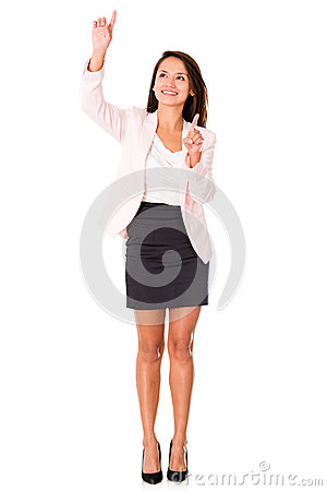 Business woman pointing two places