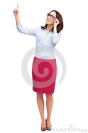 Business woman pointing up