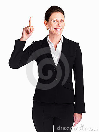 Business woman pointing up while looking You