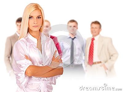 Business woman portrait leading team