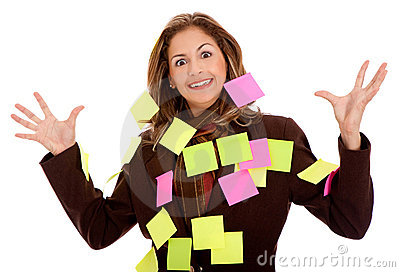 Business woman - post its