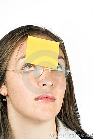 Business woman with post it note