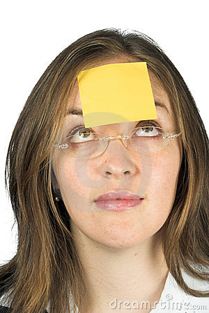 Business woman - post it paper