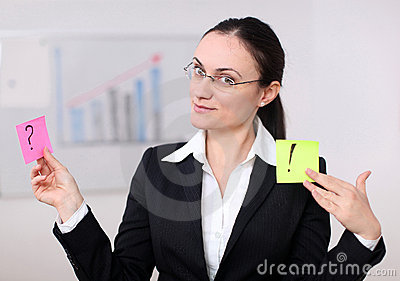 A business woman with postit