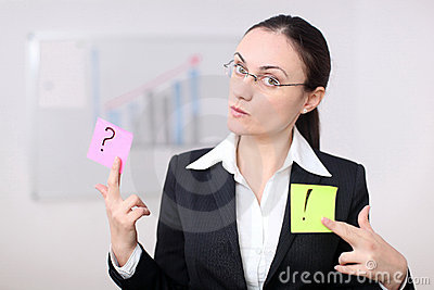 Business woman with postit