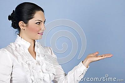 Business woman presentation to copyspace