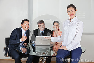 Business woman presenting office