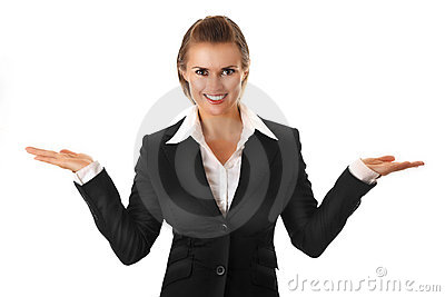 Business Woman Presenting Something On Empty Hands Stock Images - Image: 15689964