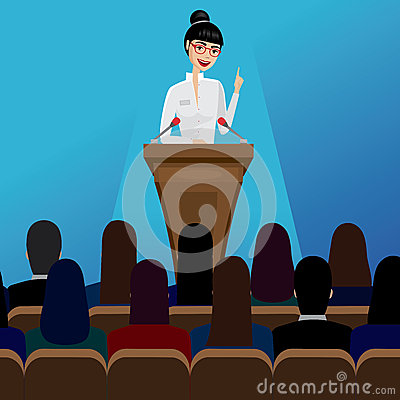 Free Business Woman Public Speaker On Conference Royalty Free Stock Photography - 61466957