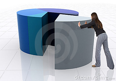 Business woman pushing a pie chart