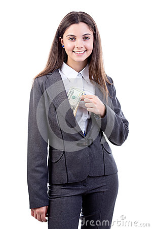 Business woman putting/ taking  dollars