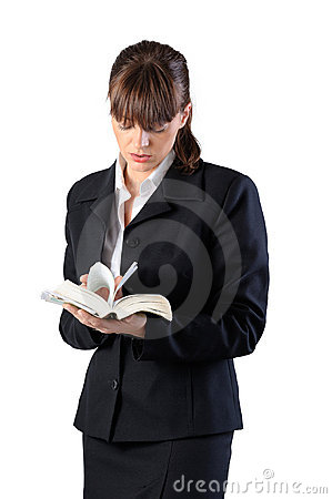 Business woman readind