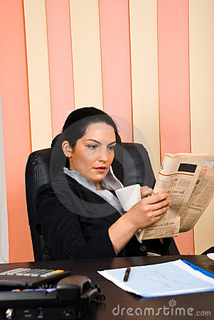 Business Woman Reading News Royalty Free Stock Image - Image: 14730466