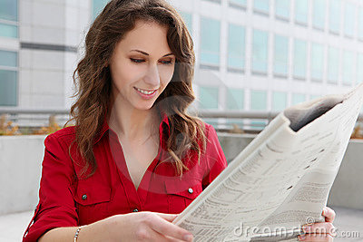 Business Woman Reading Paper