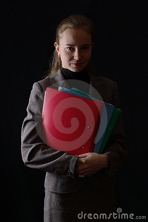 Business woman with red folders