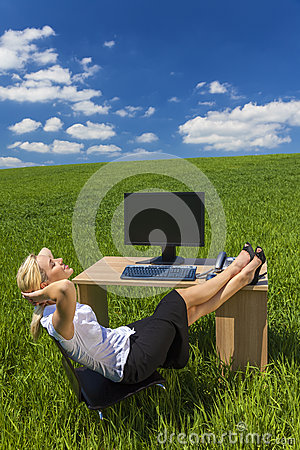 Free Business Woman Relaxing Office Desk Green Field Royalty Free Stock Image - 34301586