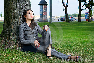 Business woman resting outdoor