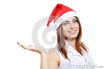 Business woman santa hat